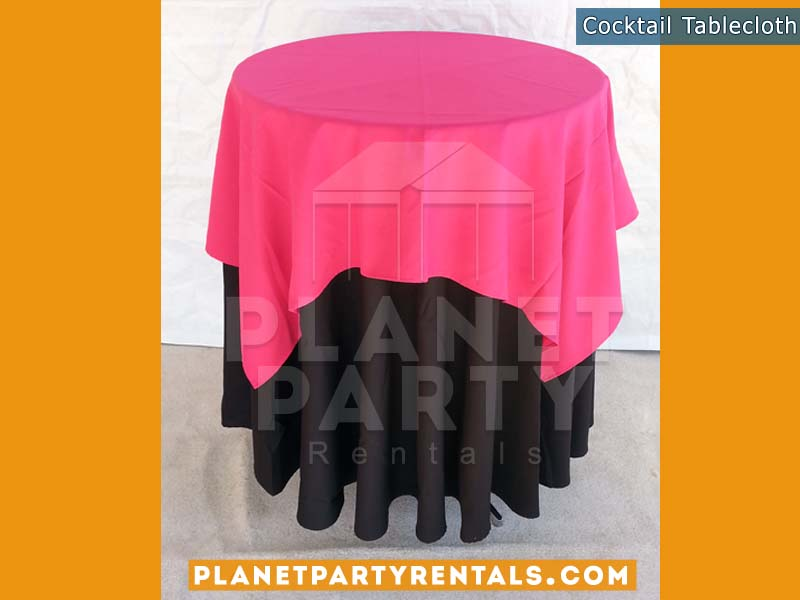 Black Tablecloth on cocktail table with fuchsia overlay | Tablecloth / Linen Rentals