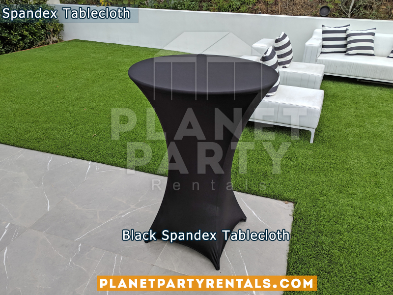 Round Black Spandex Tablecloths