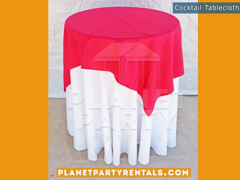 White Round Tablecloth on cocktail table with red overlay |Tablecloth / LinenRentals