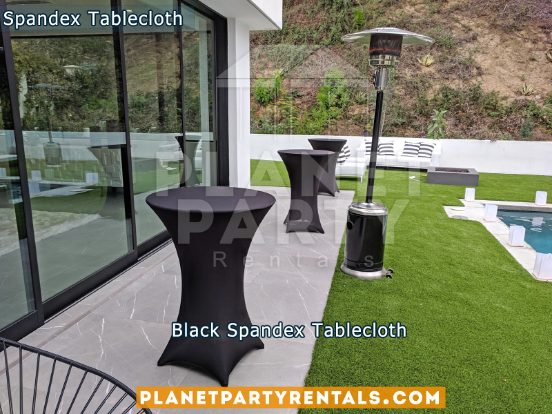 Black Spandex Tablecloths on Cocktail Tables