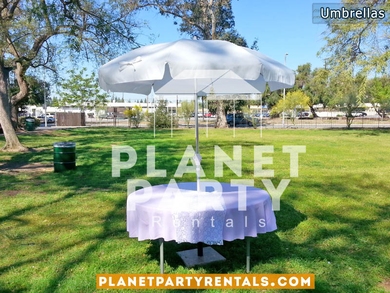 Market/Garden Umbrella Rentals | Patio Umbrella with Stand and Round Table