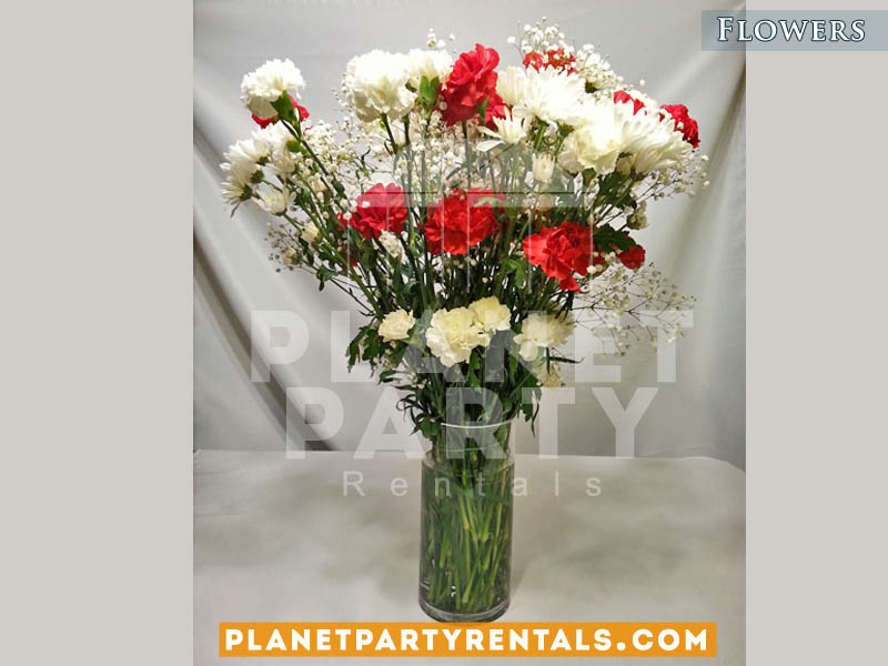 Carnations with Gyp and Clear Vase | Flower Decorations | San Fernando Valley
