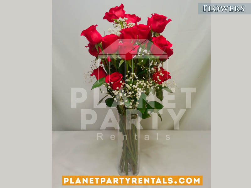 Red Roses with White Gyp Flower and Vase | Wedding Flowers