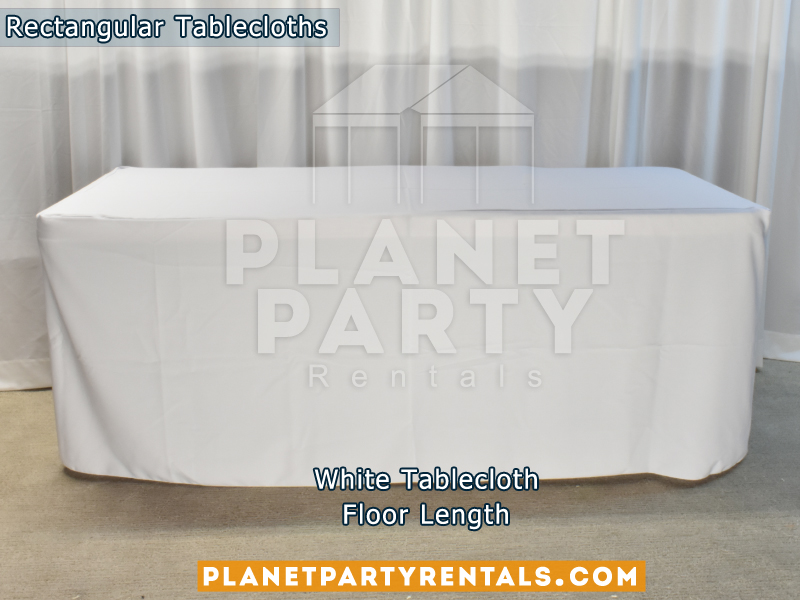 Floor Length White Rectangular Tablecloth for 6ft Rectangular Table