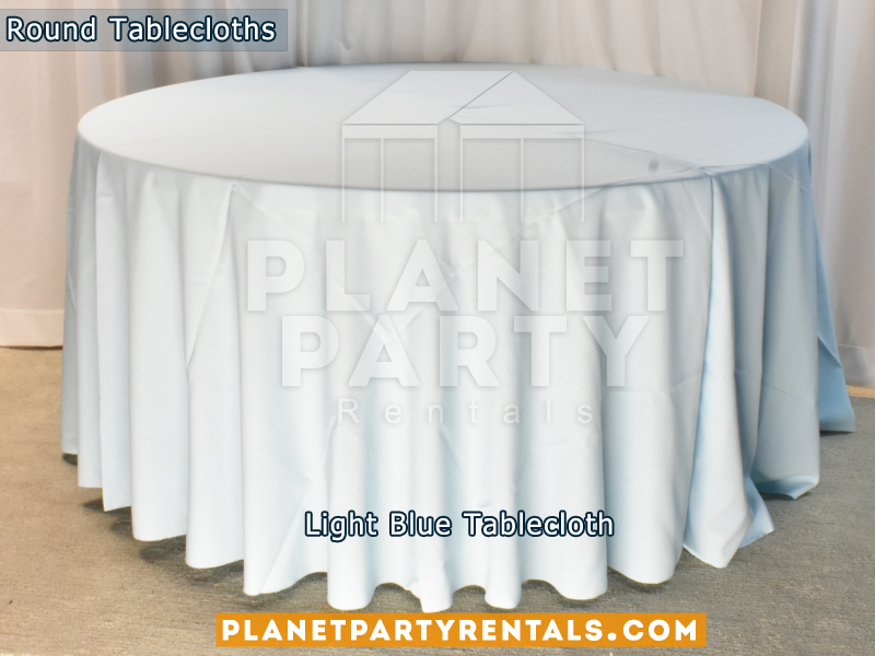 "Light Blue Tablecloth for 60"" Round Table"