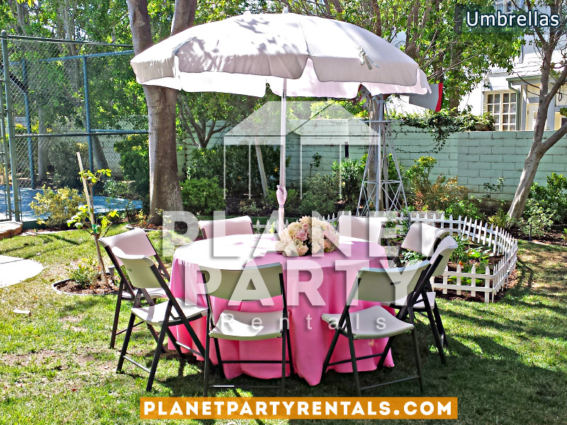 "White Umbrella with Round 60"" Table and Light Pink Tablecloth"