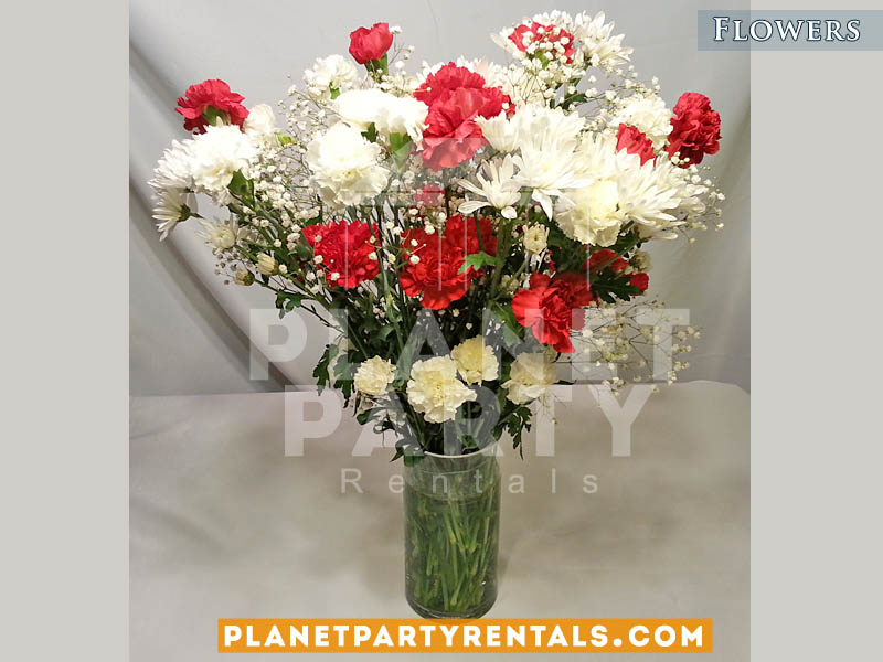 With Red Carnations And Gyp Flower Decorations San Fernando Valley