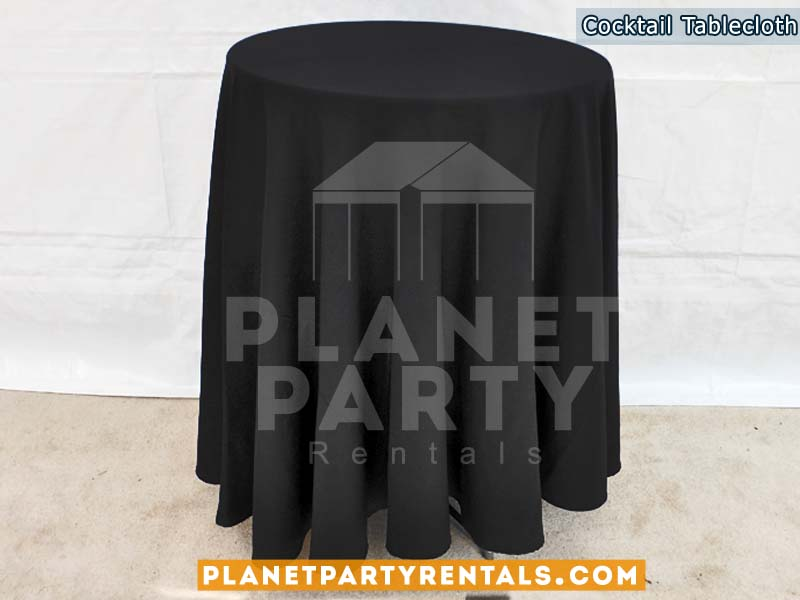 Black round tablecloth for round cocktail table
