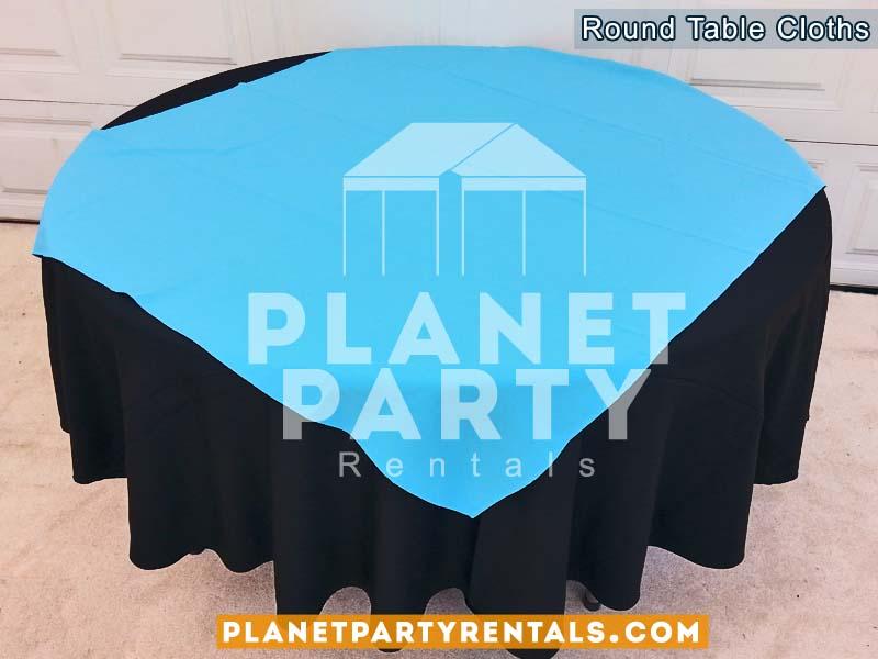 Black round tablecloth with blue overlay/diamond