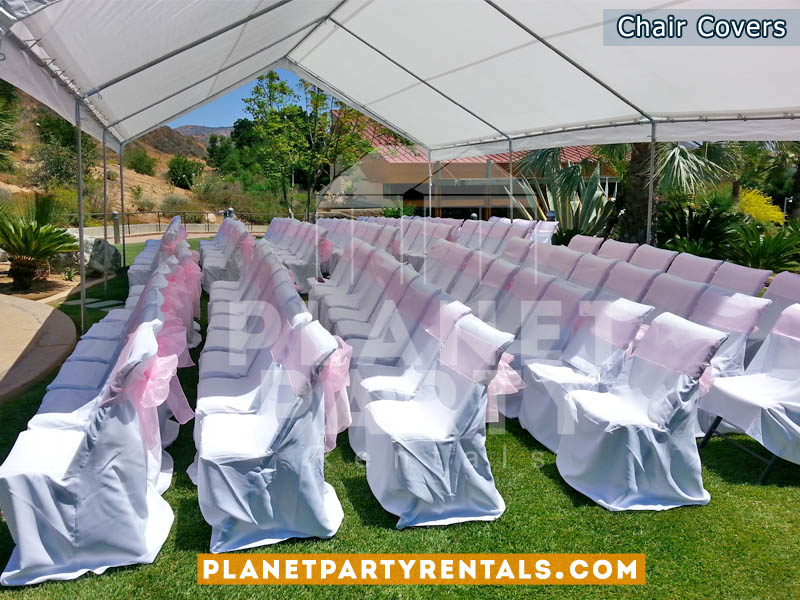 White Chair Cover with Pink Sashes and 20ft x 30ft Tent