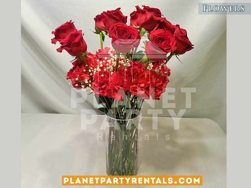 Red Roses Bouquet with Red Carnations and Gyp | Flower Decorations San Fernando Valley