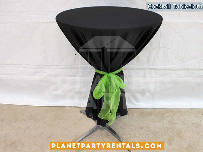 Black Round Tablecloth With Bow For Tail Table