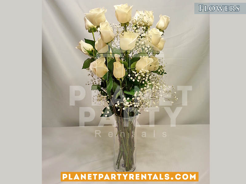 With Gyp And Clear Vase Weddings Event Flower And Flower Decorations