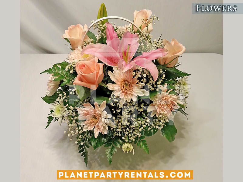 Wedding flower centerpieces with Pink Roses and Tulip