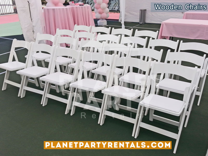 White Wooden Folding Chair with Padded Seat | San Fernando Valley Party Rentals