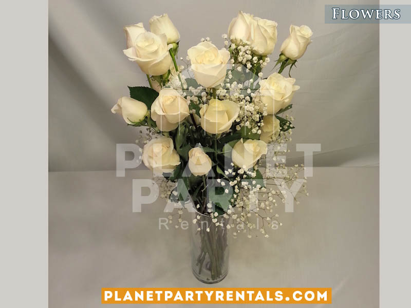 24 White Roses with Gyp and Clear Vase | Weddings Event Flower and Flower Decorations
