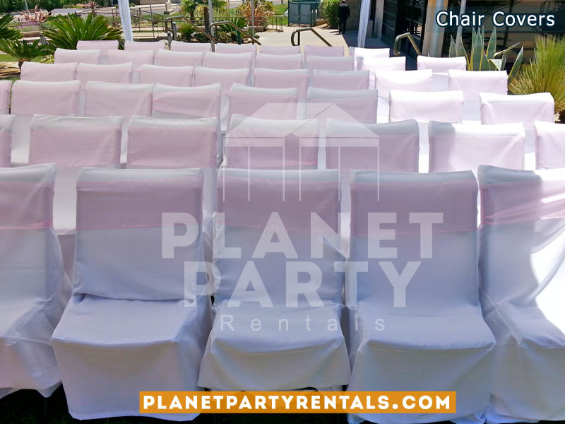 White Chair Cover with Pink Sashes | Chair Cover Rentals