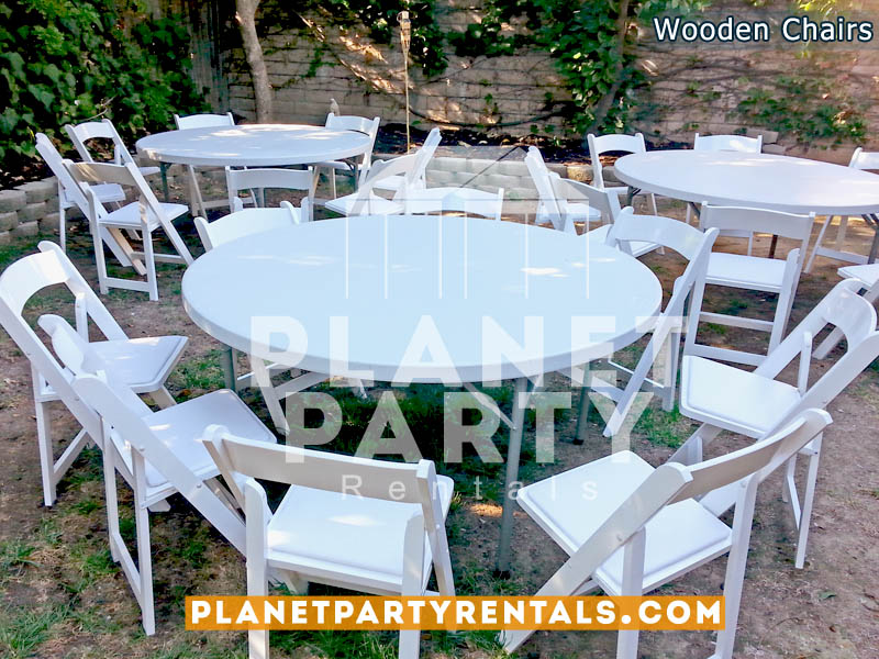 White Wooden Chairs with Padded White Seat in backyard event