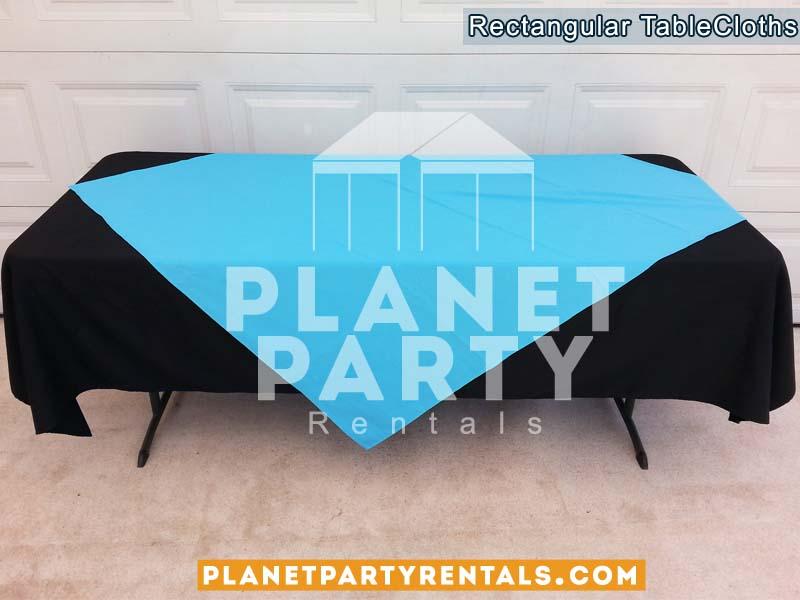 Rectangular Black Table Cloth with Blue Diamond / Overlay | Linen Table Cloth Rentals