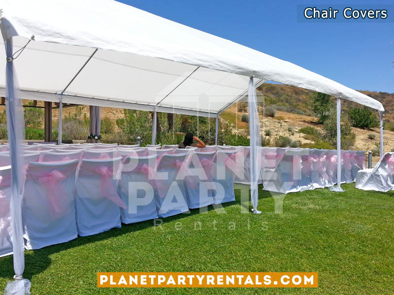 White Chair Cover with Pink Sash | Linen Rentals San Fernando Valley