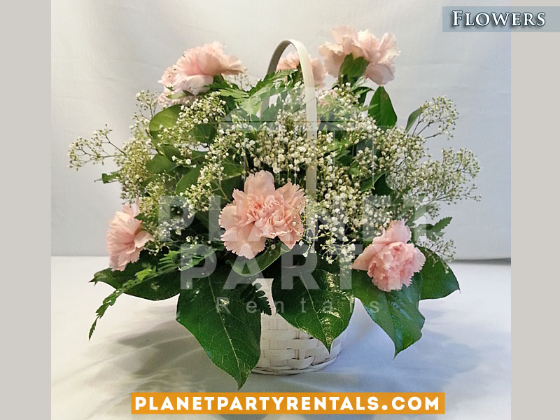 Pink Carnations in White Basket | Flower bouquet arrangement for tables