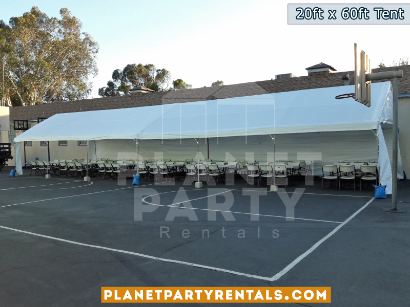 20ft x 60ft Tent Setup on Basketball court for Daniel Pearl High School - Pearl Con