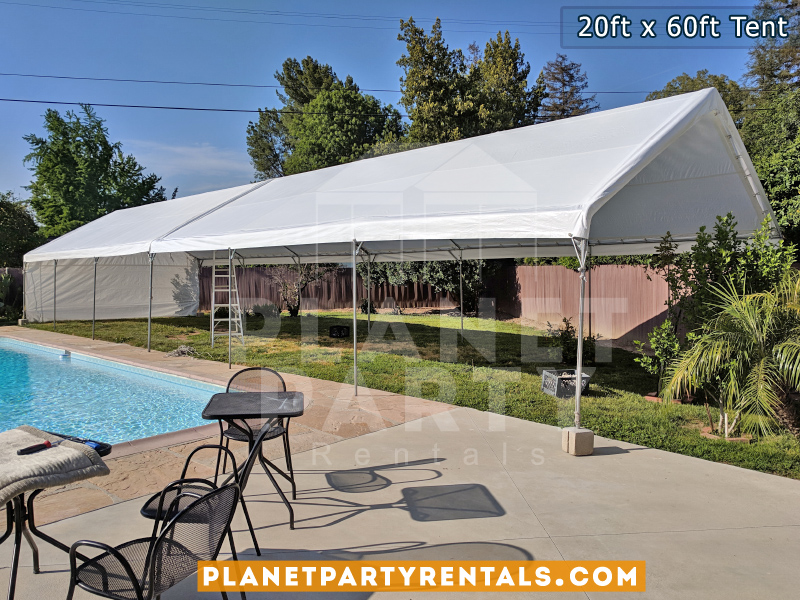 20ft x 60ft Tent on Grass next to Swimming Pool