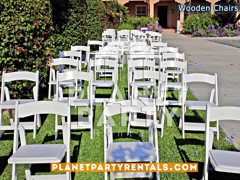 Wooden folding white padded chair with white padded seat