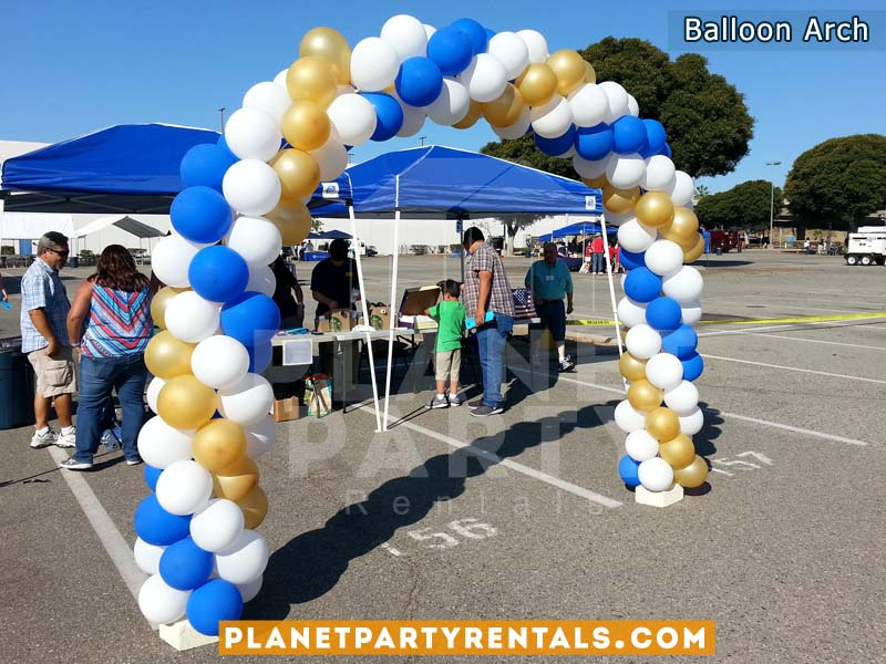 Balloon Arch with 3 Color Ballon Decoration (Gold, White, Royal Blue) | Balloon Decorations Arches