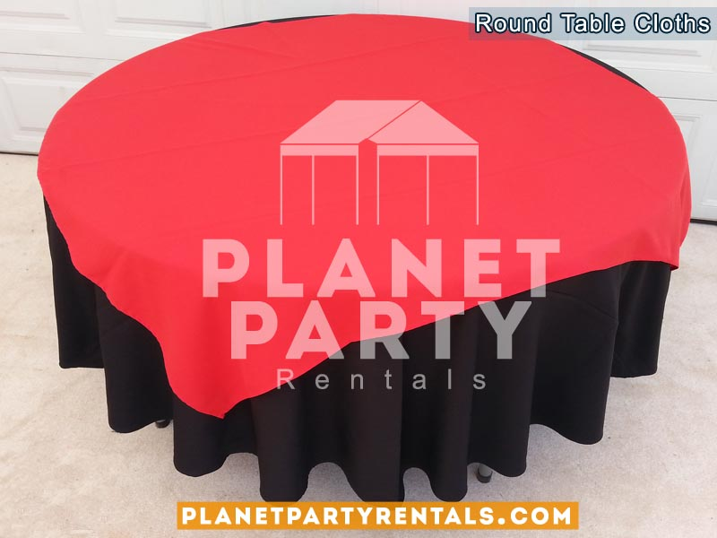 Black Round Tablecloth On Round Table With Red Diamond