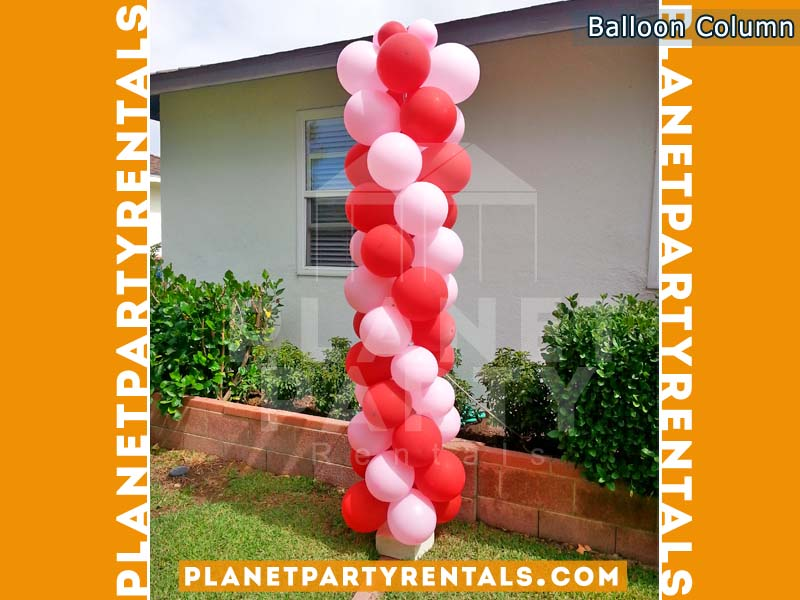 Balloon Column with Red/Light Pink Balloon Decorations | San Fernando Valley Balloon Decorations