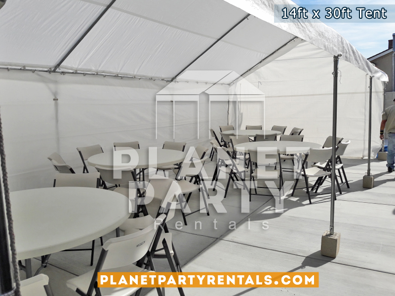 "14x30 Tent with Round Tables (60"" Round) and Plastic White Chairs"