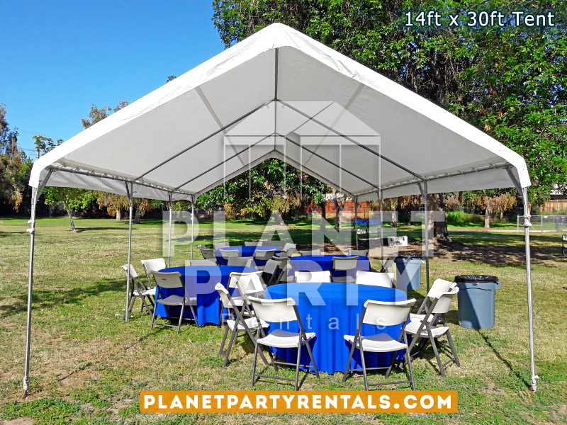 14 x 30 Tent with Round Tables and Blue Tablecloths and Plastic White Chairs