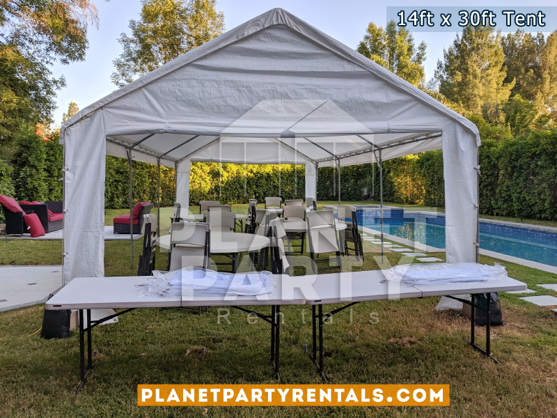 14ft x 30ft White Party Tent on Grass with Round Tables/Rectangular Tables and Chairs
