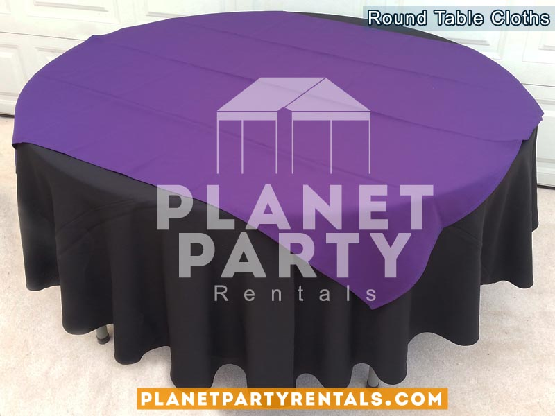 Black Round Tablecloth On Round Table With Purple Diamond