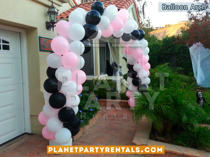 Balloon Arch with Pink, White and Black Balloons. Spiral Balloon Design | Balloon Decorations San Fernando Valley
