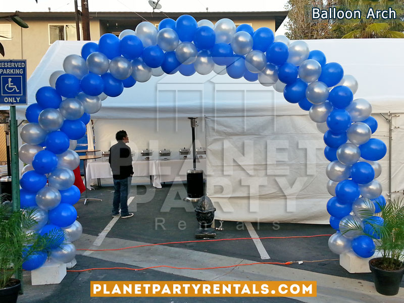 Balloon Arch with Silver and Royal Blue Balloons | Balloon Decorations San Fernando Valley