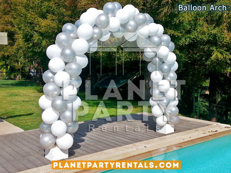 Balloon Arch with Silver and White Balloons | Balloon Decorations