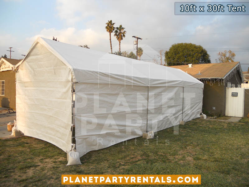 10ft x 30ft Tent with sidewalls | San Fernando Valley Party Tent Rentals | White Tent Pictures