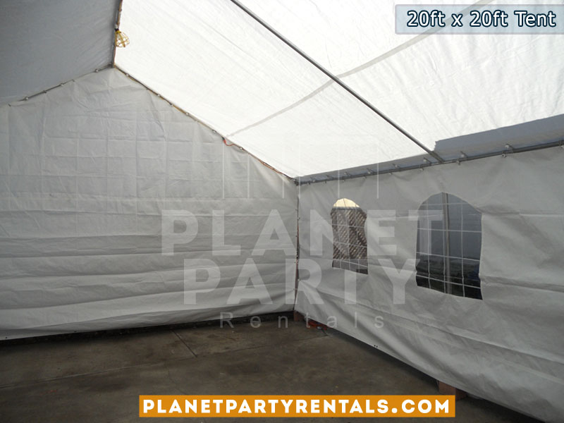 20x20 Tent with window walls and plastic white chars and rectangular tables