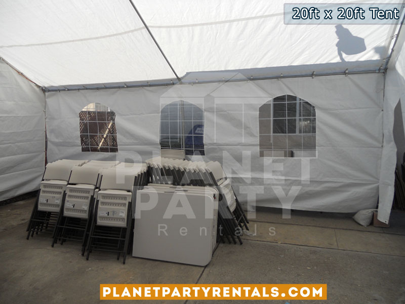 20x20 Tent with window walls and plastic white tables and rectangular tables