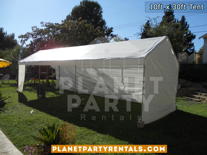 10ft x 30ft White tent with sidewalls | San Fernando Valley Party Rentals Santa Clarita Simi Valley Ventura West Los Angeles| Tent Rentals