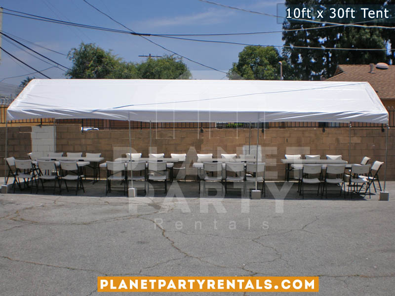10ft x 30ft White tent with sidewalls | San Fernando Valley Party Rentals Santa Clarita Simi & 10ft x 30ft Tent Rental