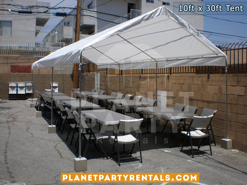 10ft x 30ft Tent with sidewalls | San Fernando Valley Party Tent Rentals | White tent with rectangular tables and chairs