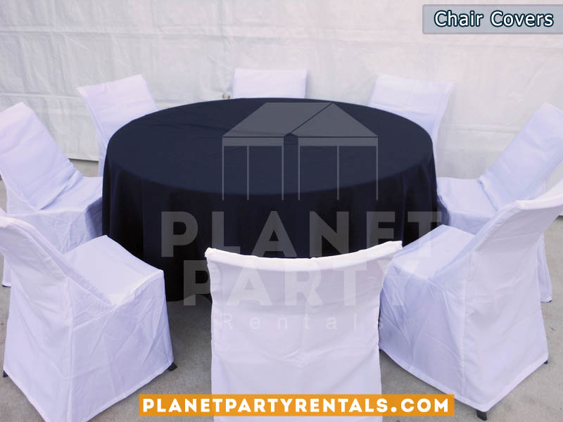 white chair covers with round table and black diamond/runner