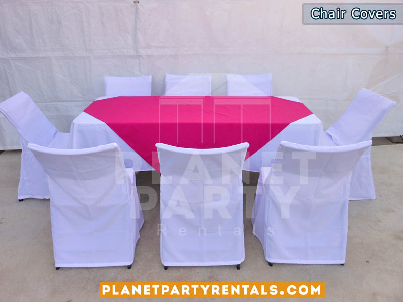white chair covers with rectangular table and fuschia diamond/runner