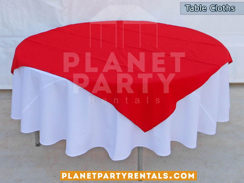 Great White Round Table Cloths With Red Overlay/diamond | Linen Rentals San  Fernando Valley, Van Nuys, Panorama City, North Hollywood.