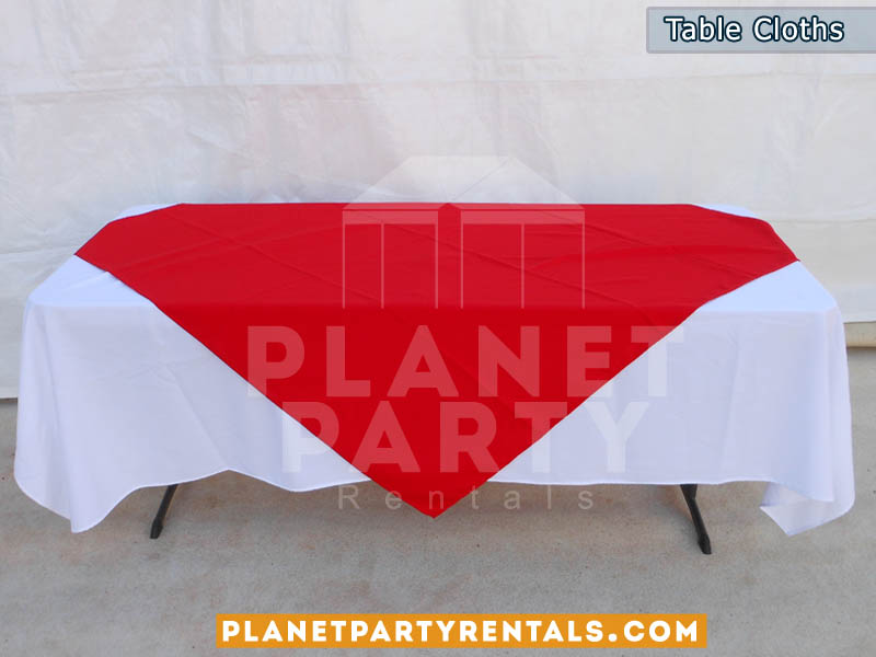 White Rectangular Table Cloth On 6ft Table With Red