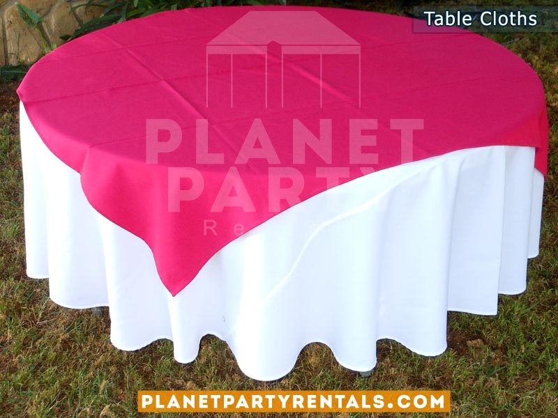 Round White Table Cloth On Round Table With Fuchsia