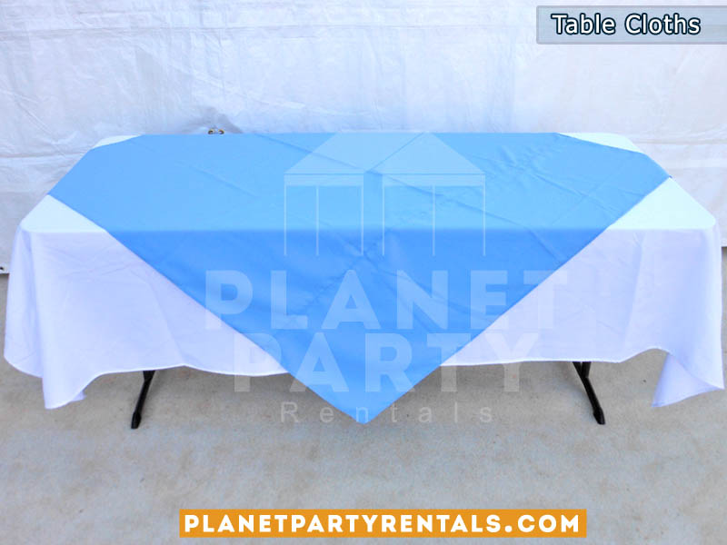 White Rectangular Table Cloth On 6ft Table With Light Blue